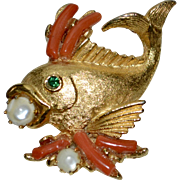 Unsigned Swoboda Fish w/ Genuine Opals & Pink Branch Coral Brooch/Pin