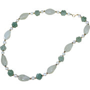 14K Gold Carved Green Jade Flower & White Cultured Pearl Necklace
