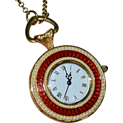 Metropolitan Museum of Art MMA Red Guilloche Enamel Seed Pearl Pocket Watch Pendant Necklace
