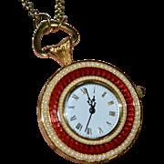Metropolitan Museum of Art MMA Red Guilloche Enamel Seed Pearl Pocket Watch Pendant Necklace