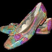 Van Eli Colorful Pink, Orange, Blue & Green Rainbow Snakeskin Leather Bow Flats ~ Size 7.5
