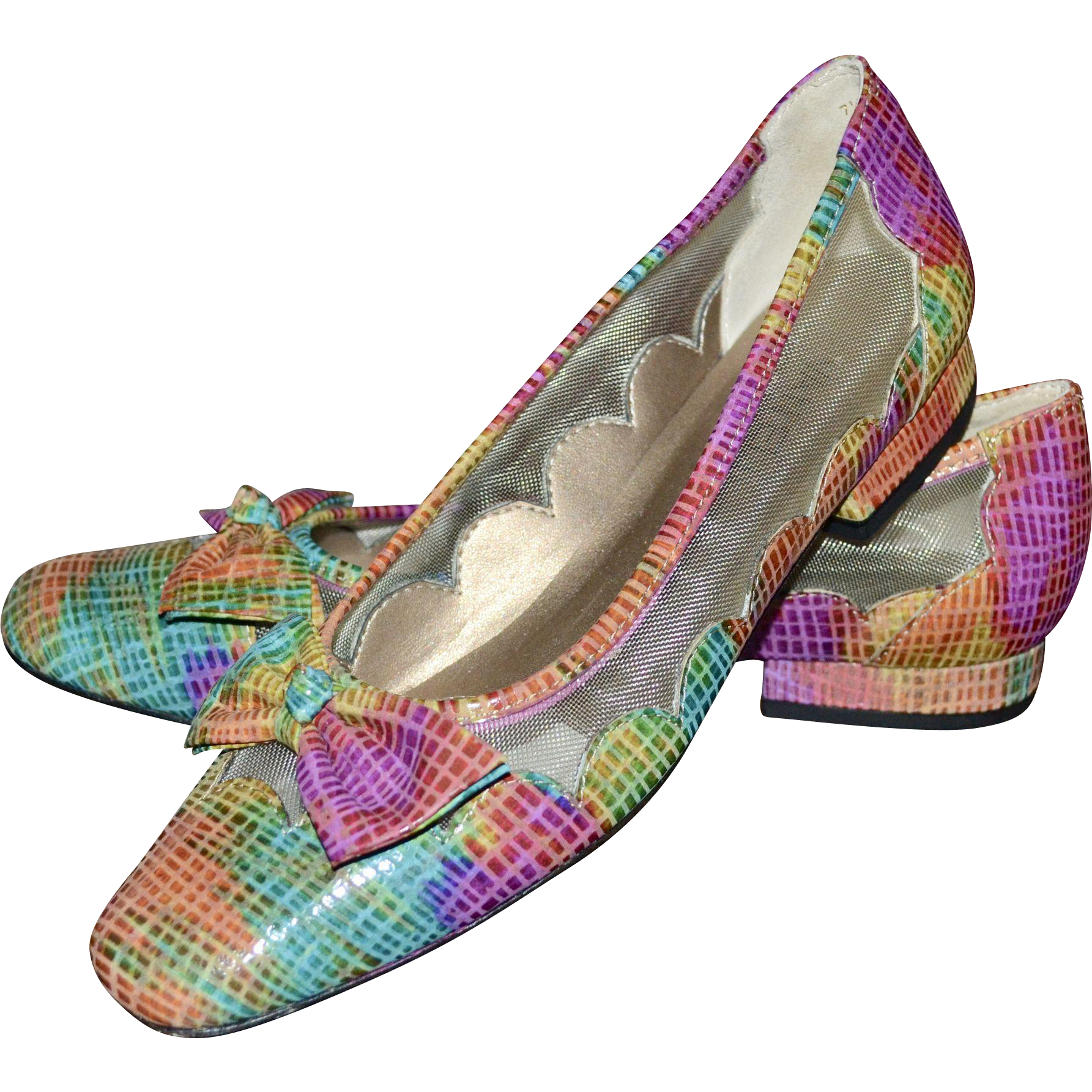 Van Eli Colorful Pink, Orange, Blue & Green Rainbow Snakeskin Leather Bow Flats ~ Size 7.5