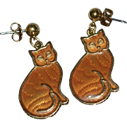Bright Orange Guilloche Enamel Cat Dangle Earrings