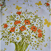 Morgan Jones QUEEN Size Orange Poppy, White Daisy & Yellow Butterfly Flat Sheet