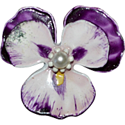 Purple Enamel Pansy Faux White Pearl Flower Scatter Pin