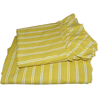 Burlington Gold Star Mustard Yellow & White Stripe Ruffled Twin Flat & Fitted Sheet Set