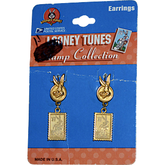 Bugs Bunny USPS Looney Tunes Stamp Collection Leverback Earrings on Original Card