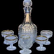 7-Pc England Made Heavy Cut Glass Decanter & 5 Diamond Cut Glass Glasses