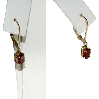 Sterling Vermeil & Red Garnet Dangle Leverback Pierced Earrings