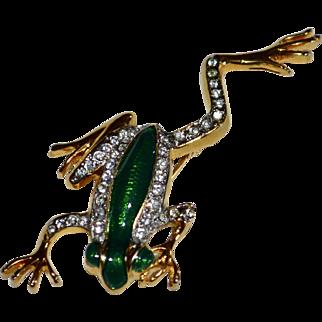 Green Enamel Rhinestone Jumping Frog Pin/Brooch