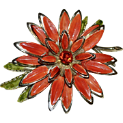 "Large 3"" Painted Orange Enamel Rhinestone Flower Pin/Brooch"