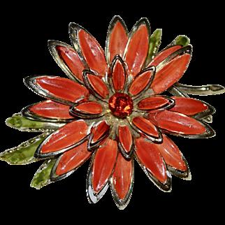 """Large 3"""" Painted Orange Enamel Rhinestone Flower Pin/Brooch"""