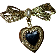 1928 Jewelry Victorian Style Black Enamel Heart Locket Bow Pin/Brooch