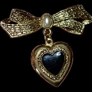 1928 Jewelry Victorian Style Black Enamel Heart Locket Bow Pin/Brooch