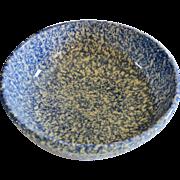 Henn Pottery Blue Spongeware Serving Bowl for Pasta or Salad