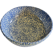 Henn Pottery Blue Spongeware Serving Bowl for Pasta or Salad