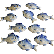 Set of 10 Ceramic Blue & White Fish Knife Rests Home Decor