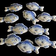 Set of 10 Ceramic Blue & White Fish Knife Rests Home Decor