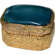 Sweet Petite French Opalescent Blue Glass Hinged Goldtone Pill Box