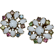 Unsigned Alice Caviness Large Milk Glass Pastel Rhinestone Clip Earrings
