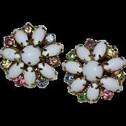 Unsigned Alice Caviness Large Milk Glass Pastel Rhinestone Clip Earrings