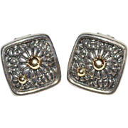 Sterling Silver 14K Gold Daisy Square Clip Earrings