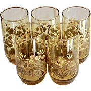 Set of 5 Decorative Flower & Leaf Light Amber Drinking Glass Tumblers