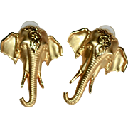 Jonette Jewelry JJ Signed Large Goldtone Elephant Pierced Earrings
