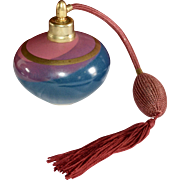 Signed Pink, Purple, Blue Ceramic Atomizer with Working Fringe Tassel Bulb