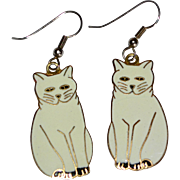 Large White Enamel Kitty Cat Dangle Earrings