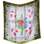 Liz Claiborne Pink, Purple & Blue Flowers Square Silk Scarf