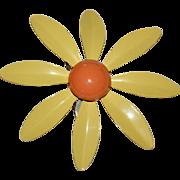 Large Yellow & Orange Enamel Flower Power Pin/Brooch