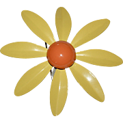 Large Yellow & Orange Enamel Flower Power Pin/Brooch
