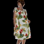 NOS Tagged Puanani Bold Flower Print Caftan Muumuu Lounge Dress