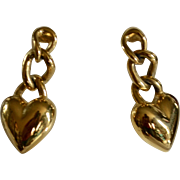 Monet Signed Heart w/ Chain Dangle Pierced Earrings