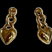 Monet Signed Heart w/ Chain Dangle Pierced Earrings