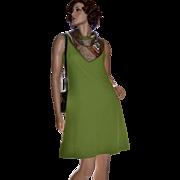 1960s Jan Arey Avocado Green Sleeveless A-Line Dress