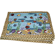 Set of 4 'Fish in the Sea' Marine Life Tapestry Placemats