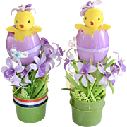 Whimsical Pair of Flocked Yellow Chicks in Cracked Eggs Easter Holiday Decor Display