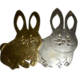 Handcrafted Sterling & Copper Mixed Metal Bunny Rabbit Pierce-work Pin/Brooch