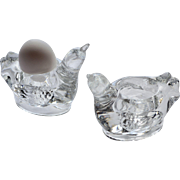 Set of 2 Heavy Blown Glass Figural Bird Candle or Egg Holders