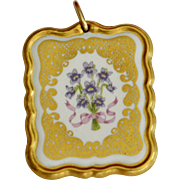 Large White Porcelain Forget-Me-Not Flower Double-Sided Pendant w/ Gold Accents