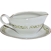 Fine China of Japan 'Bell Flower' Gravy Boat with Separate Underplate