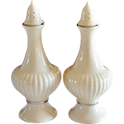 Lenox 'Essex Collection' Ivory White Porcelain Silver Trim Salt & Pepper Shakers