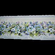 Cannon Royal Family KING Size Blue Rose Flower White Lace Flat Sheet