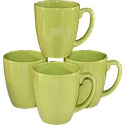 Corelle Set of 4 Ceramic Lime Green Mugs