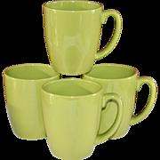Corelle Set of 4 Ceramic Lime Green Mugs