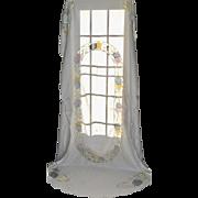 "Gorgeous Oblong 102 x 60"" Satin Pastel EASTER Egg & Flower Cutwork White Tablecloth"