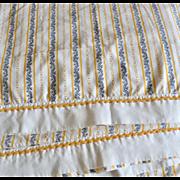 Cornflower Yellow, Black & White Floral Scrollwork Full Flat Sheet & Pillowcase