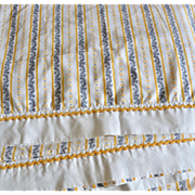 Cornflower Yellow, Black & White Floral Scrollwork Full Flat Sheet & Pillowcase